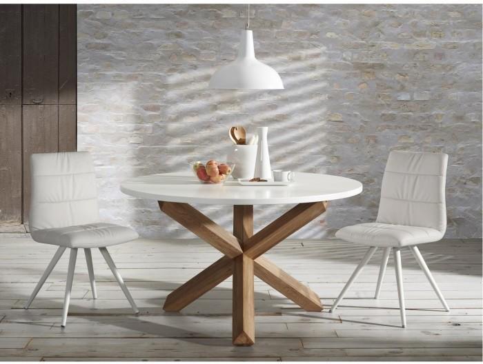Laforma eettafel nori rond cm wit eikenhout la forma